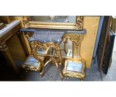 Különleges arany barokk tükrös gránitlapos konzolasztal
