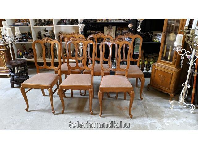 Neobarokk szék világosbarna kárpittal 6 db