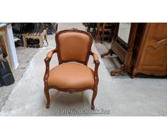 Neobarokk fotel barna bőrkárpittal