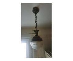 Függesztett rézlámpa ólomüveg búrával eladó
