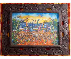 Ázsiai Indonéz festmény Ketut Soki Barong/ Melasti eredeti balinéz naiv festészet díszes fakeretben