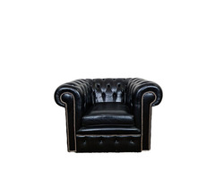 A165 Chesterfield fekete bőr fotel