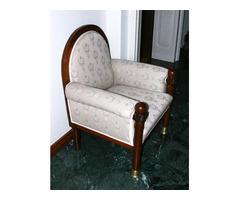 Art-Deco Fotel, szövettel kárpitozott antik faragott fa