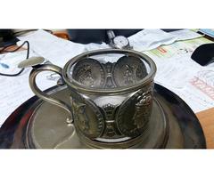 (9) 3/5. Bögre ezüst,üvegbetéttel.