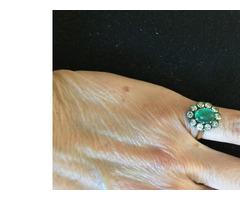 Antik smaragd gyűrű, gyémánt kövekkel
