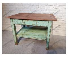 Zöld hasáb lábú konyhaasztal