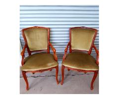 2 db Neobarokk zöld plüsskárpitos karos szék