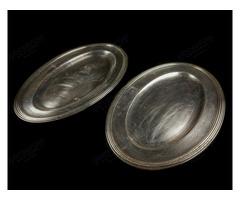 Christoffle ezüstözött ovális tál pár