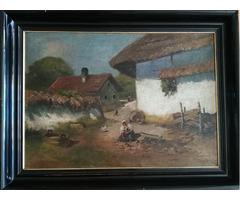 Parasztudvar , jelzett kvalitásos festmény - 1900-as évek eleje