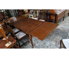 Neobarokk kihúzhatós intarziás asztal 6 székkel