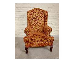 Füles bordó-arany huzatú fotel