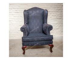 Füles kék huzatú fotel