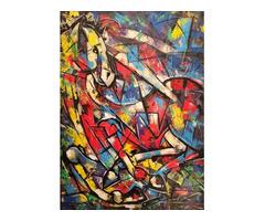 EDWARD YOV – Gyönyörű nagy kubista festmény
