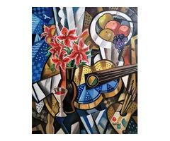 Samuel Veksler- Gitár és gyümölcsök ( Guitare et fruits ) 65x54 cm,